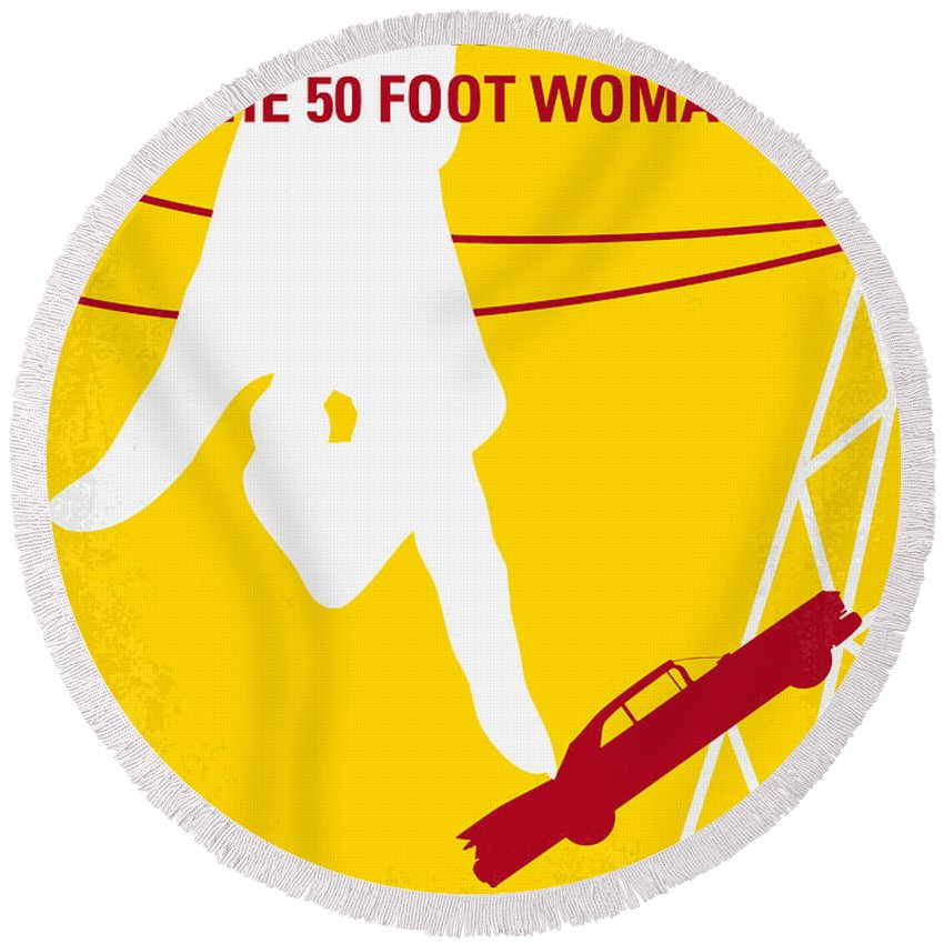 Attack Round Beach Towel featuring the digital art No276 My Attack Of The 50 Foot Woman Minimal Movie Poster by Chungkong Art
