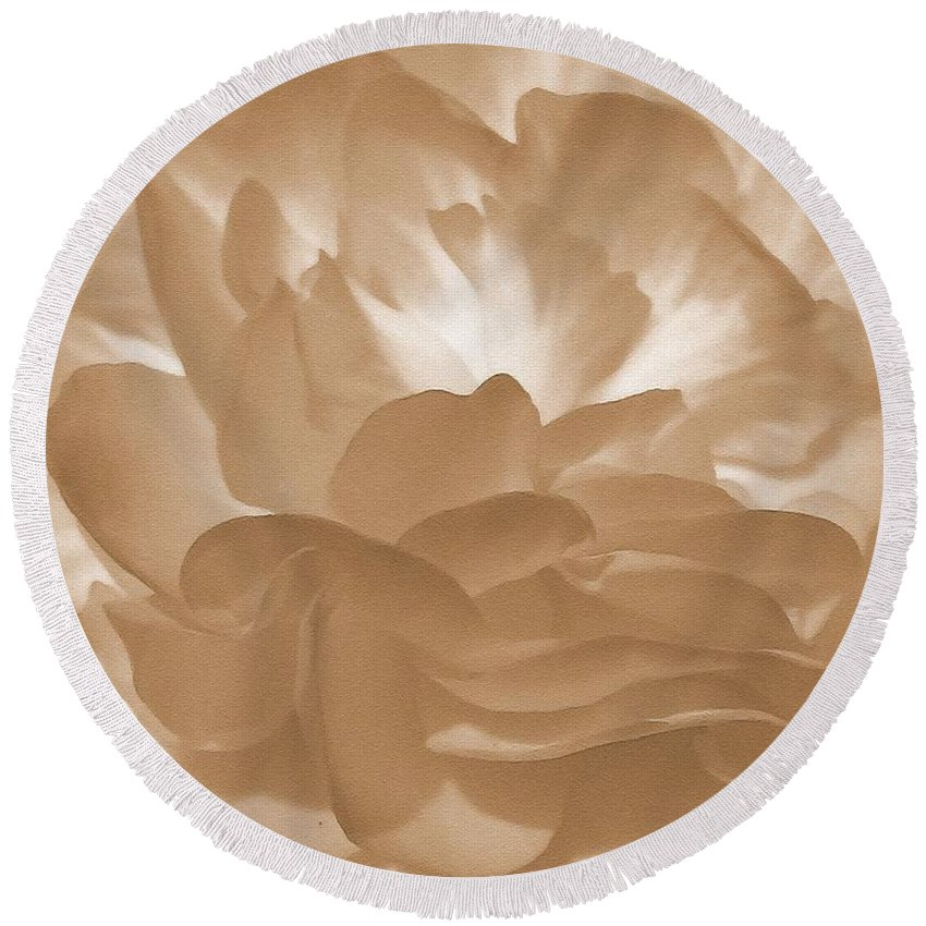 Begonia Round Beach Towel featuring the painting Non-stop Begonia Petals by J McCombie