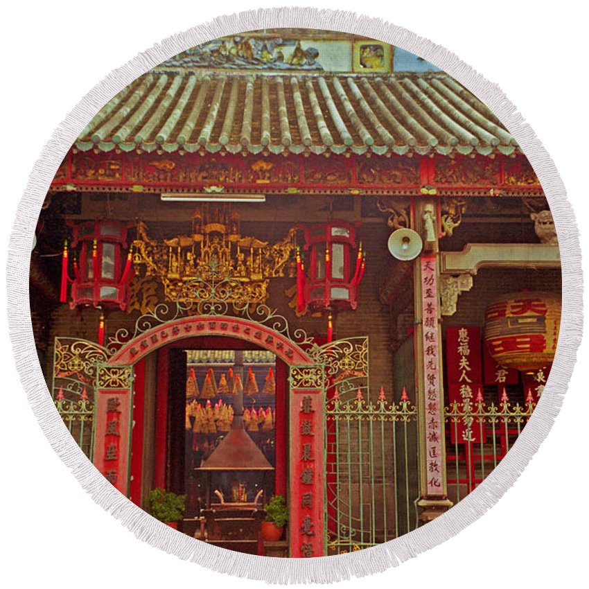 Vietnam Round Beach Towel featuring the photograph Nord Hoi Temple Entrance by Rich Walter