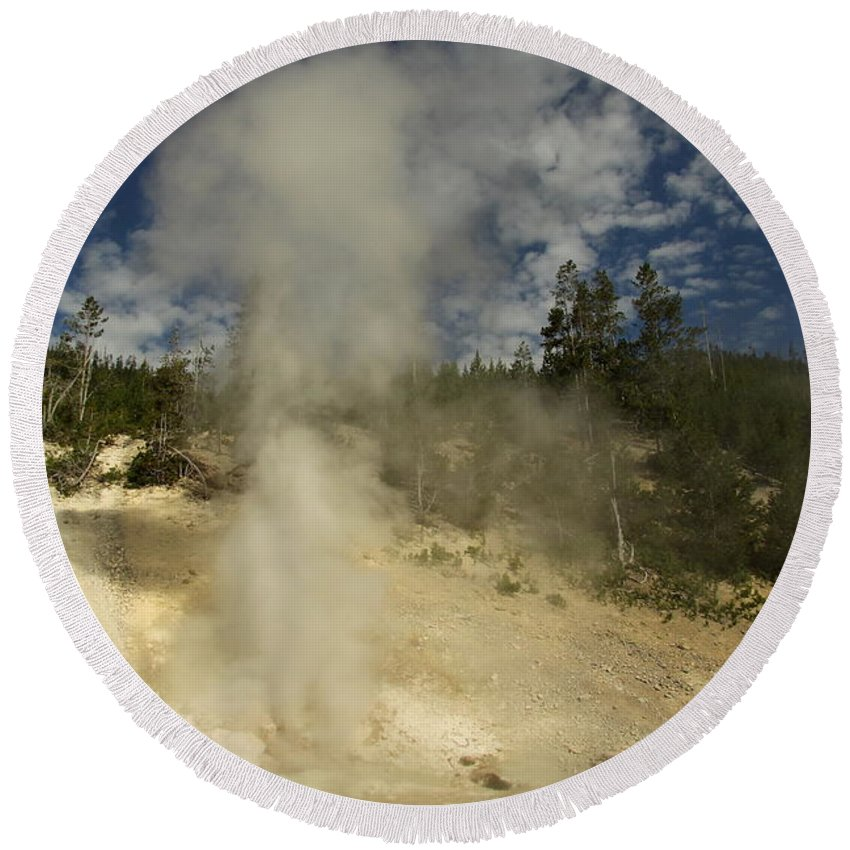 Norris Geyser Basin Round Beach Towel featuring the photograph Norris Geyser Basin - Beryl Spring by Christiane Schulze Art And Photography