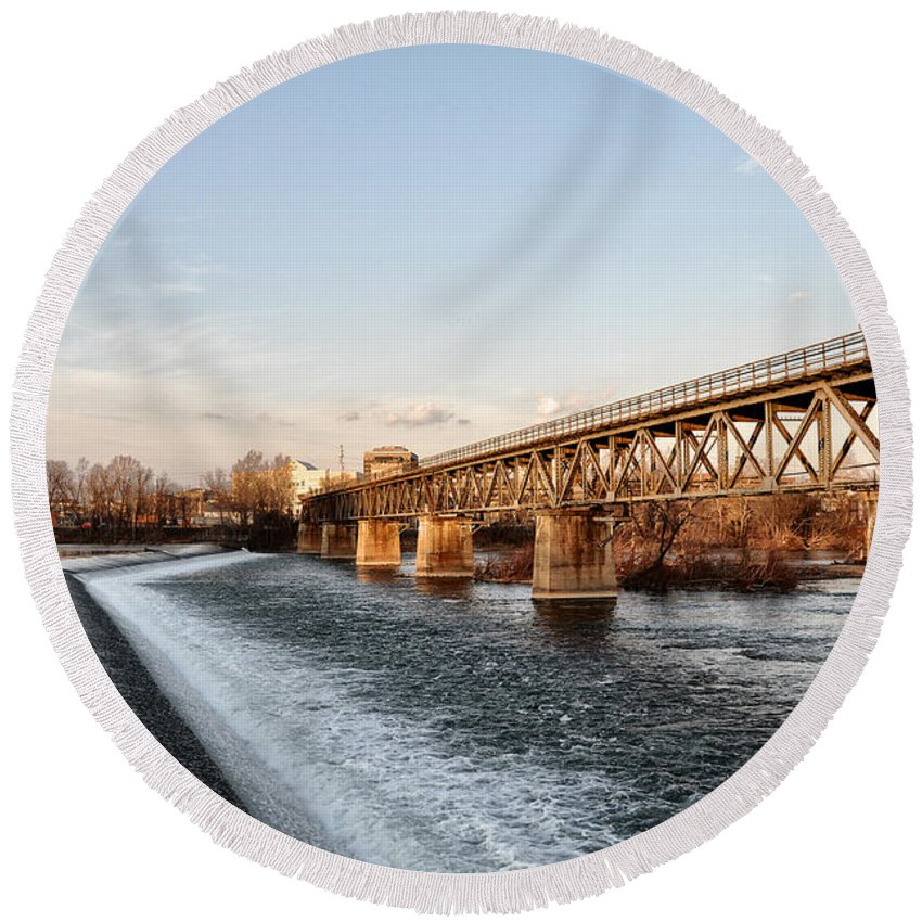 Norristown Round Beach Towel featuring the photograph Norristown Dam And Railroad Bridge by Bill Cannon