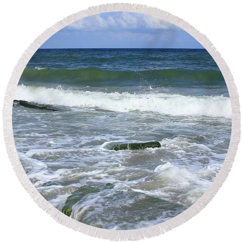 North Carolina Round Beach Towel featuring the photograph North Carolina Coast by Mountains to the Sea Photo