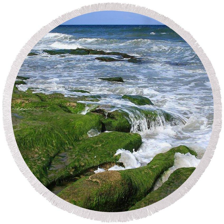 North Carolina Round Beach Towel featuring the photograph North Carolina Coastal Rocks by Mountains to the Sea Photo