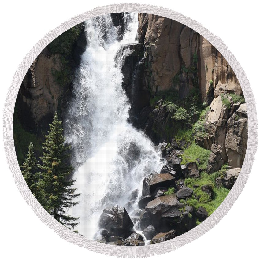 Water Falls Round Beach Towel featuring the photograph North Clear Creek Falls by Brandi Maher
