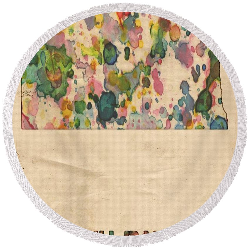 North Dakota Round Beach Towel featuring the painting North Dakota Map Vintage Watercolor by Florian Rodarte