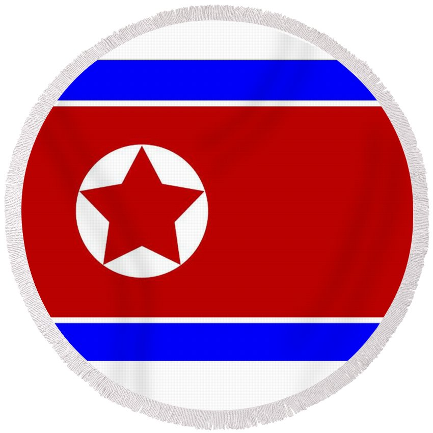 North Round Beach Towel featuring the digital art North Korea Flag by Frederick Holiday