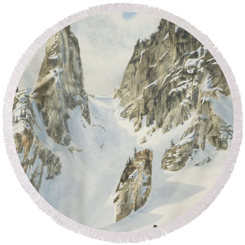 Skiing Round Beach Towel featuring the painting North by Link Jackson