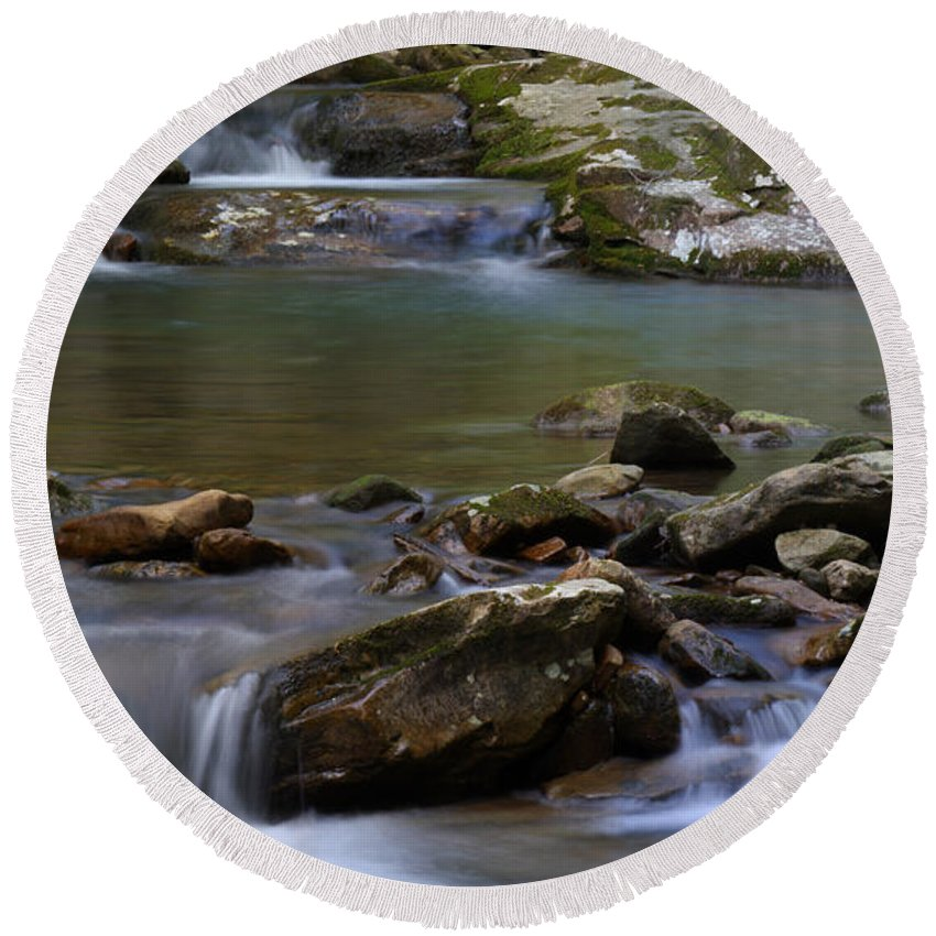 North Prong Of Flat Fork Creek Round Beach Towel featuring the photograph North Prong Of Flat Fork Creek by Daniel Reed