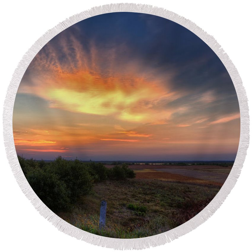 Sunrise Round Beach Towel featuring the photograph North Refuge Sunrise by Al Mueller