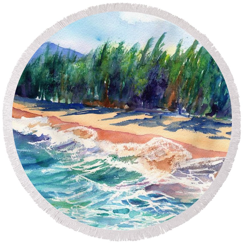 Kauai Ocean Watercolor Round Beach Towel featuring the painting North Shore Beach 2 by Marionette Taboniar