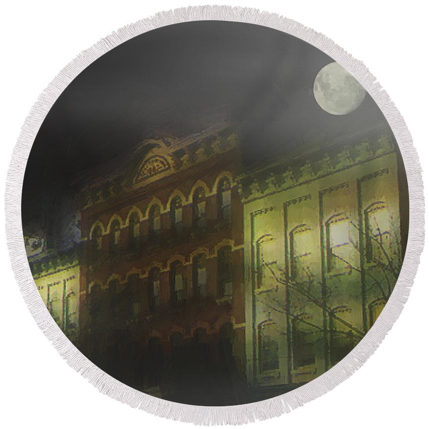 Cityscape Round Beach Towel featuring the painting Northampton By Moonlight by RC deWinter
