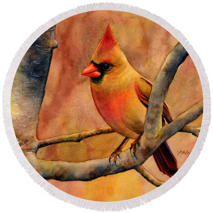 Cardinal Round Beach Towel featuring the painting Northern Cardinal II by Hailey E Herrera
