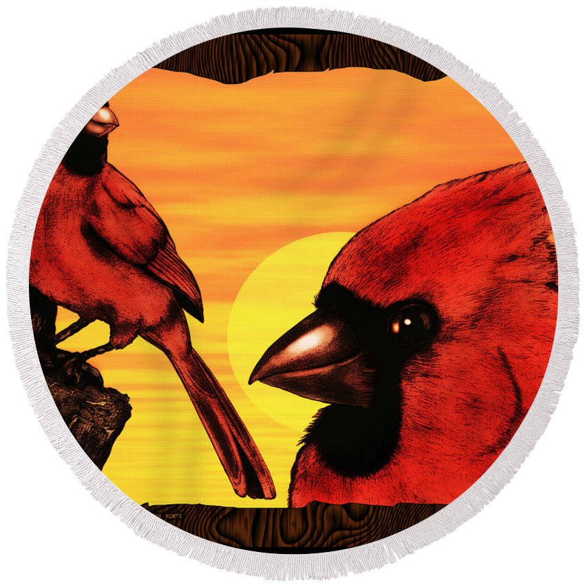 Cardinal Round Beach Towel featuring the digital art Northern Cardinals At Sunrise by Christopher Korte