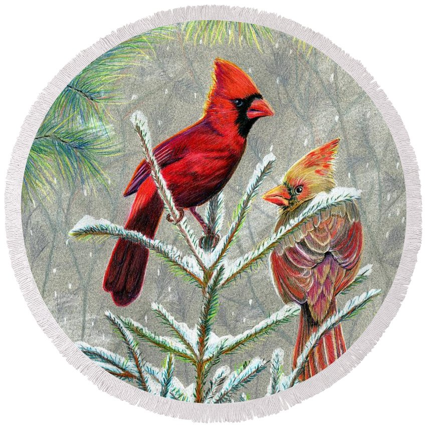 Red Birds Round Beach Towel featuring the drawing Northern Cardinals by Marilyn Smith