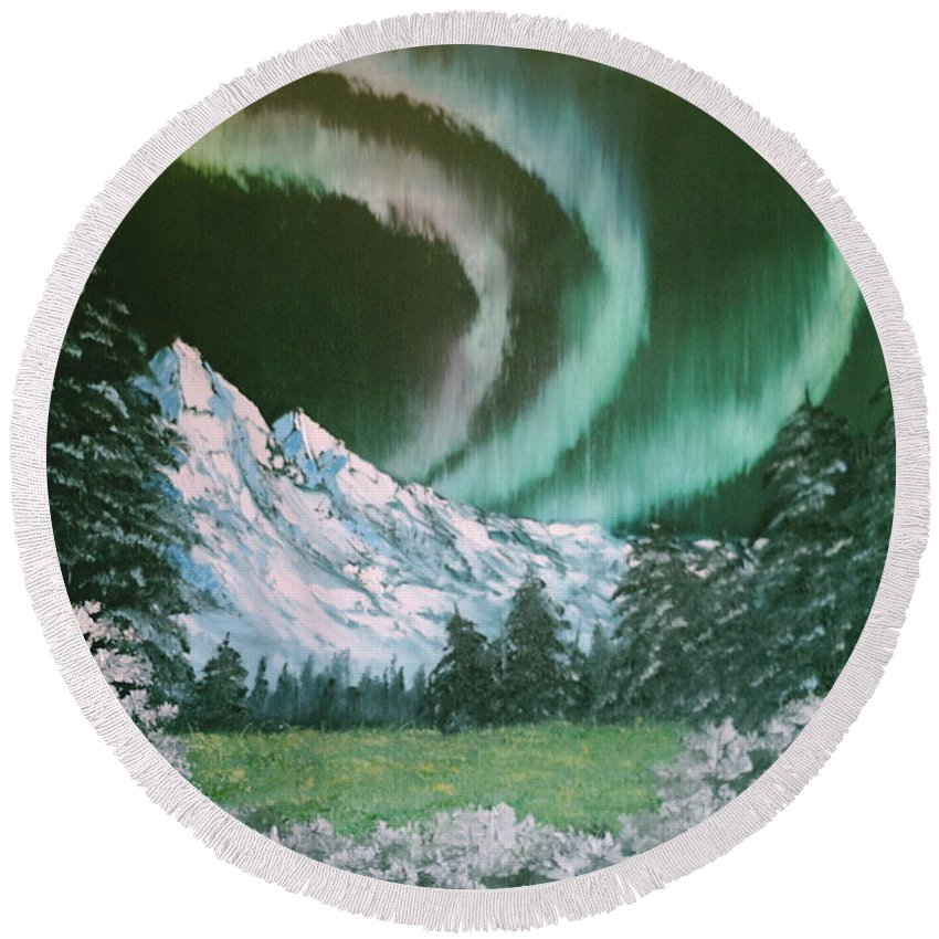 Alaska Round Beach Towel featuring the painting Northern Lights - Alaska by Jim Saltis