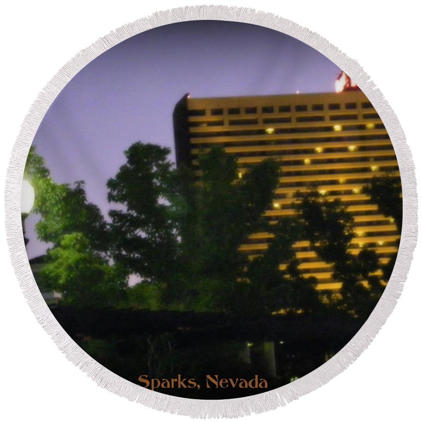 John Ascuagas Nugget Sparks Round Beach Towel featuring the photograph Northern Nevada by Bobbee Rickard