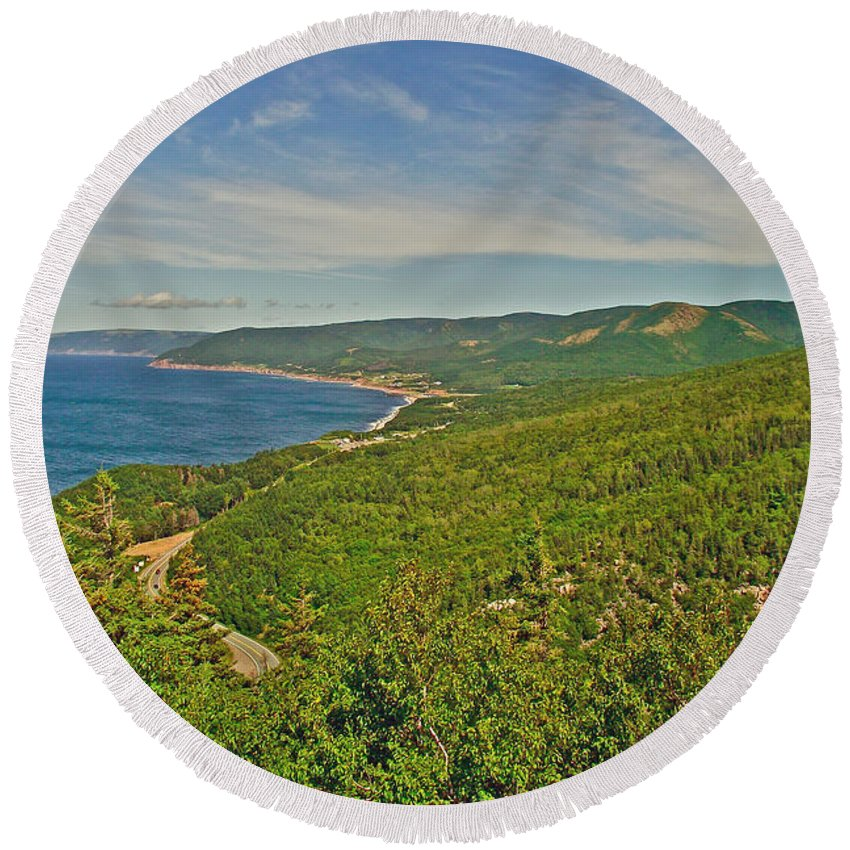 Northern Road Through Cape Breton Highlands Np Round Beach Towel featuring the photograph Northern Road Through Cape Breton Highlands Np-ns by Ruth Hager
