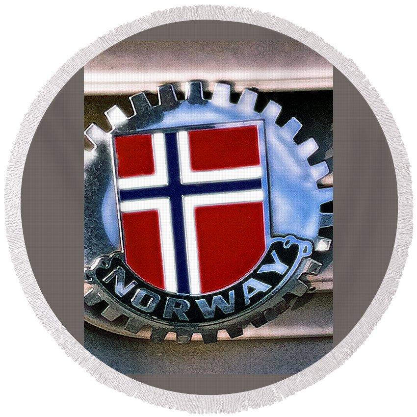Norway Car Emblem Round Beach Towel featuring the photograph Norway Car Emblem by Bill Owen