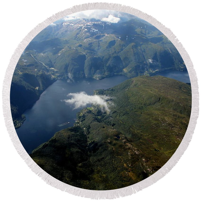 Norway Round Beach Towel featuring the photograph Norwegian Fjord From On High by Laurel Talabere