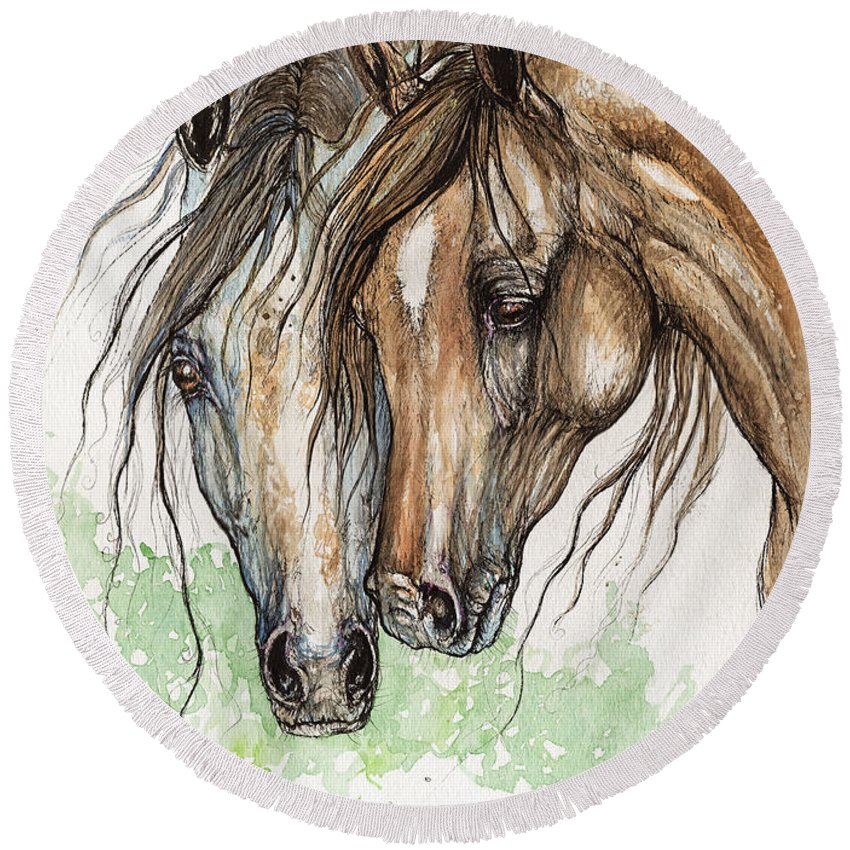 Horse Round Beach Towel featuring the painting Nose To Nose Watercolor Painting by Angel Ciesniarska