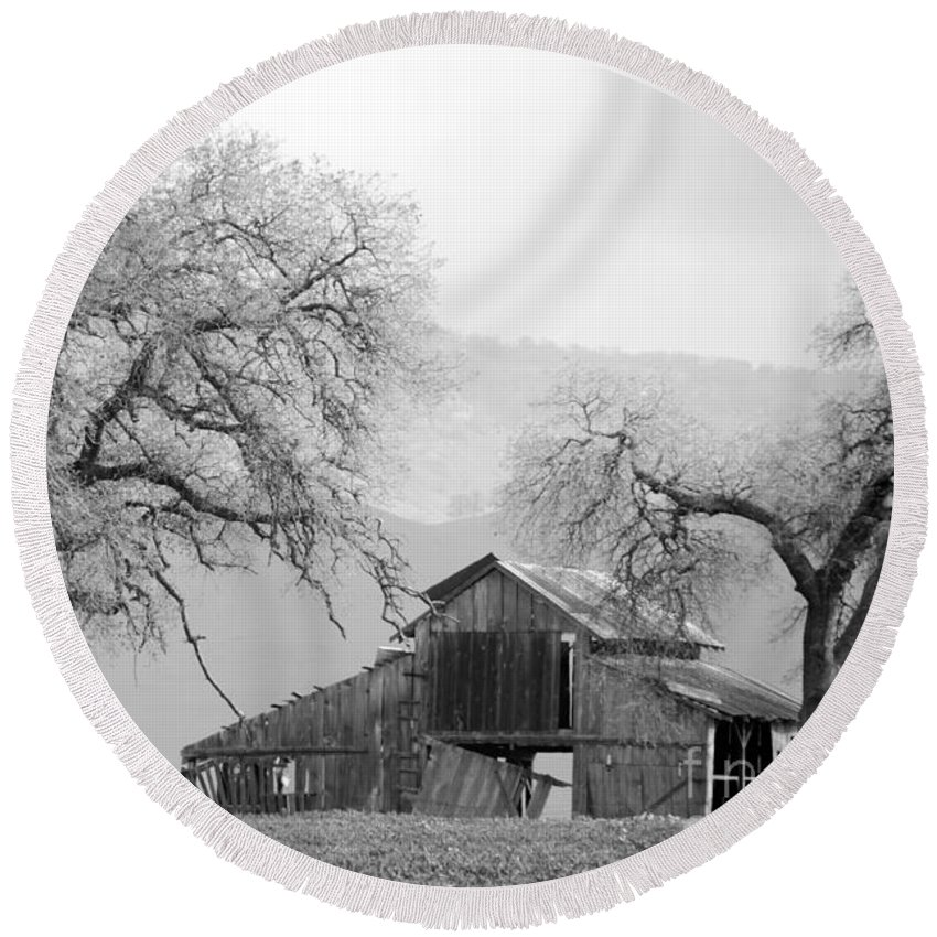 Barn Round Beach Towel featuring the photograph Not Much Time Left Bw by Debby Pueschel