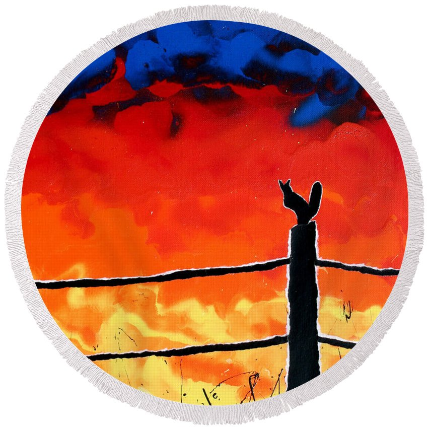 Tragic Round Beach Towel featuring the painting Not So Wildfire by Ric Bascobert