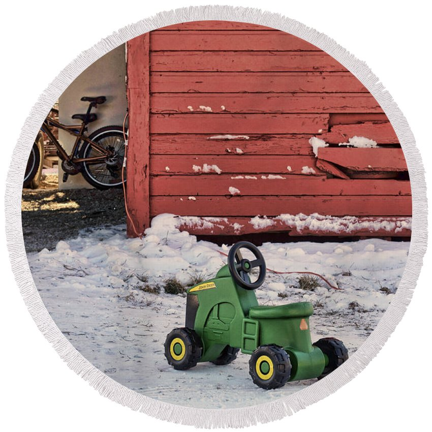 Toy Tractor Round Beach Towel featuring the photograph Nothing Runs Like A Deere #4 by Nikolyn McDonald