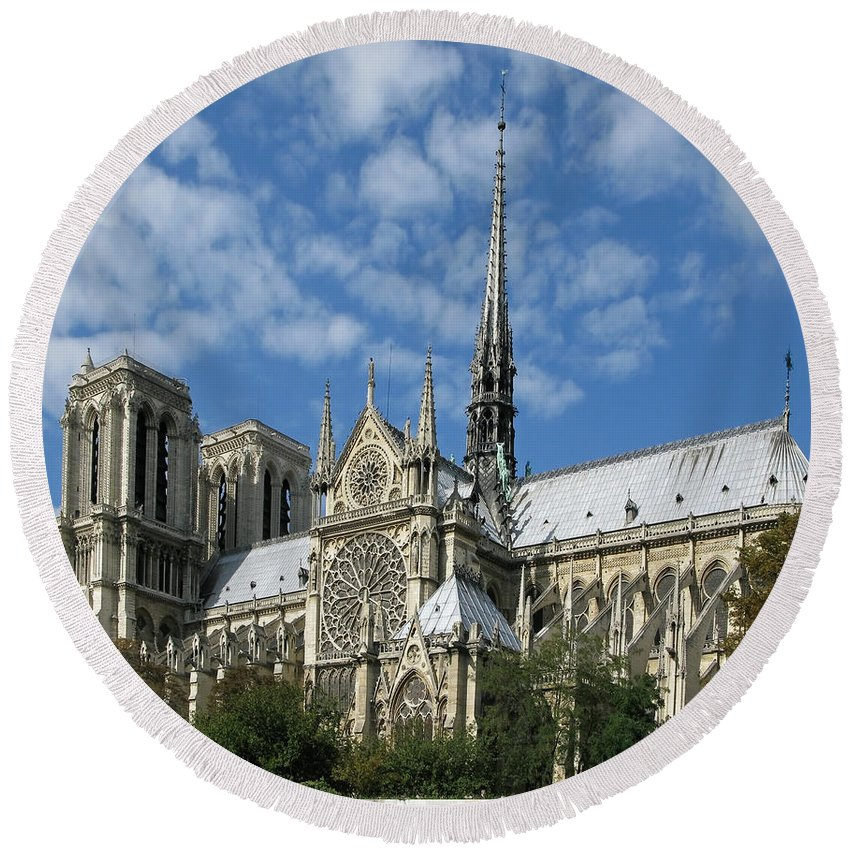 Notre Dame Round Beach Towel featuring the photograph Notre Dame Cathedral by Ann Horn