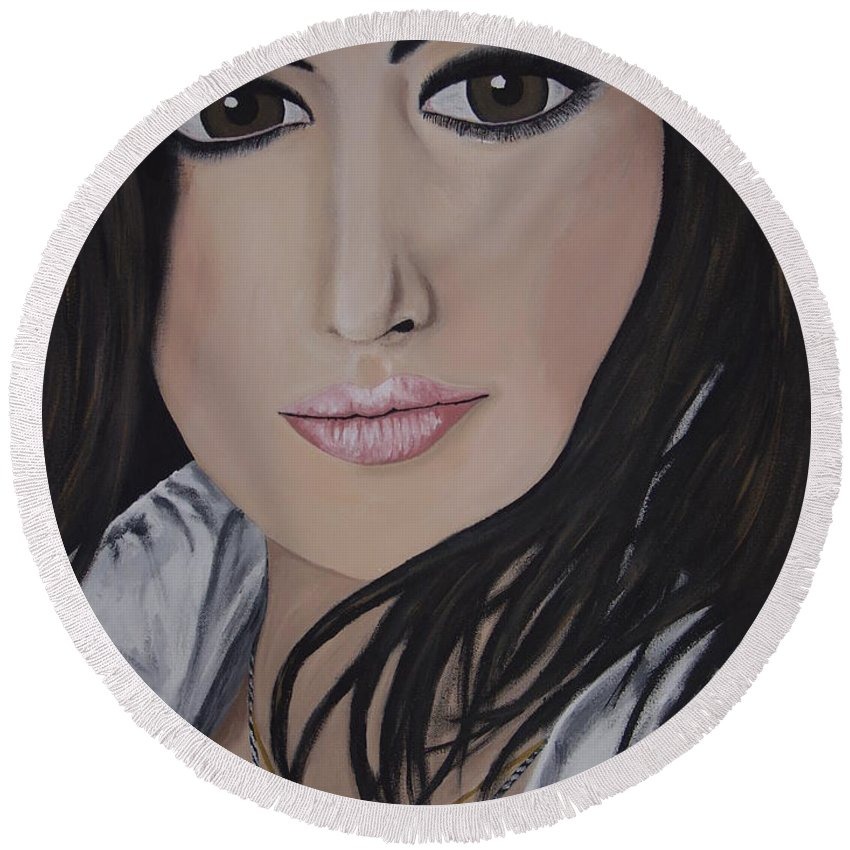 Actress Round Beach Towel featuring the painting Noureen Dewulf by Dean Stephens
