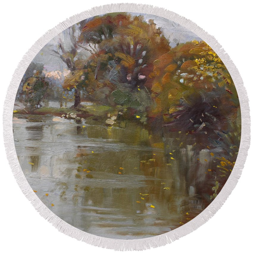 November Round Beach Towel featuring the painting November 4th At Hyde Park by Ylli Haruni