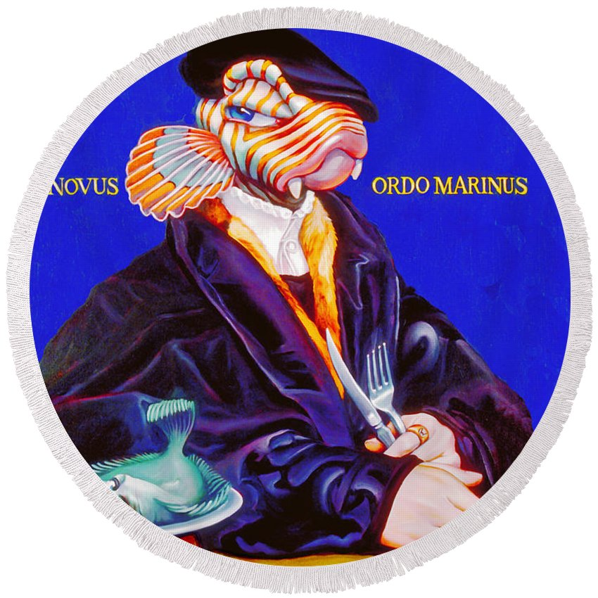 Merman Round Beach Towel featuring the painting Novus Ordo Marinus by Patrick Anthony Pierson