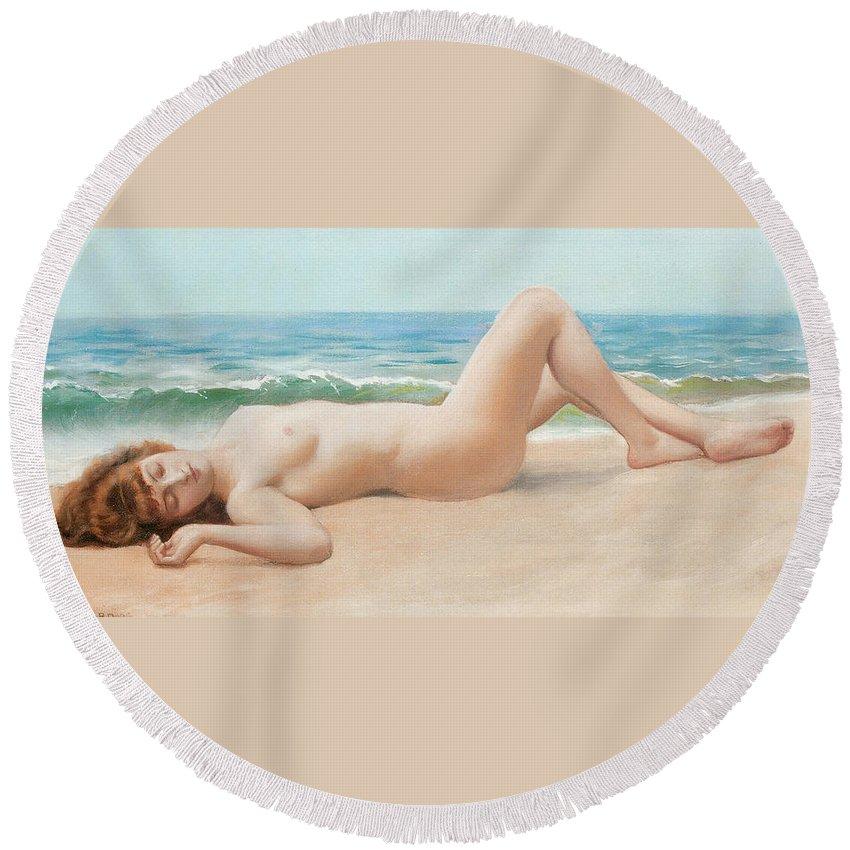 Nu Sur La Plage Round Beach Towel featuring the digital art Nu Sur La Plage by John William Godward