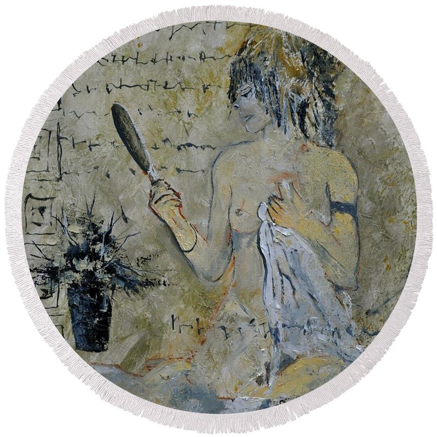 Nude Round Beach Towel featuring the painting Nude 5650 by Pol Ledent