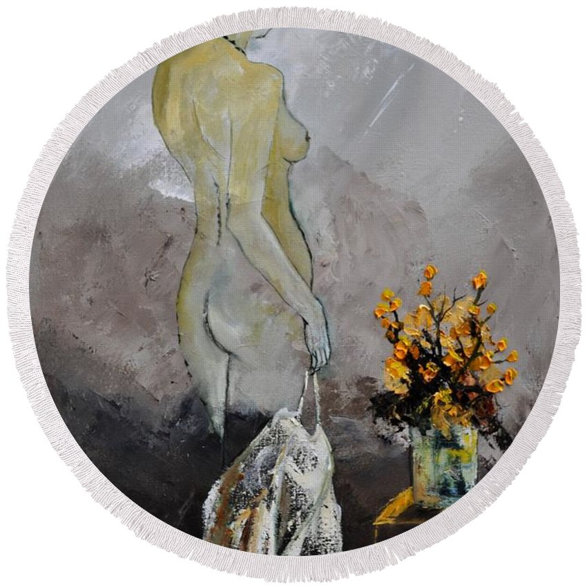 Nude Round Beach Towel featuring the painting Nude 573111 by Pol Ledent