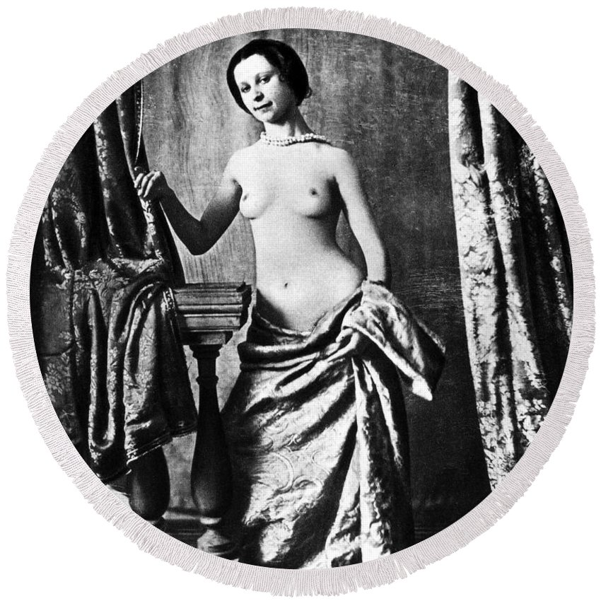 1850 Round Beach Towel featuring the photograph Nude And Curtains, C1850 by Granger