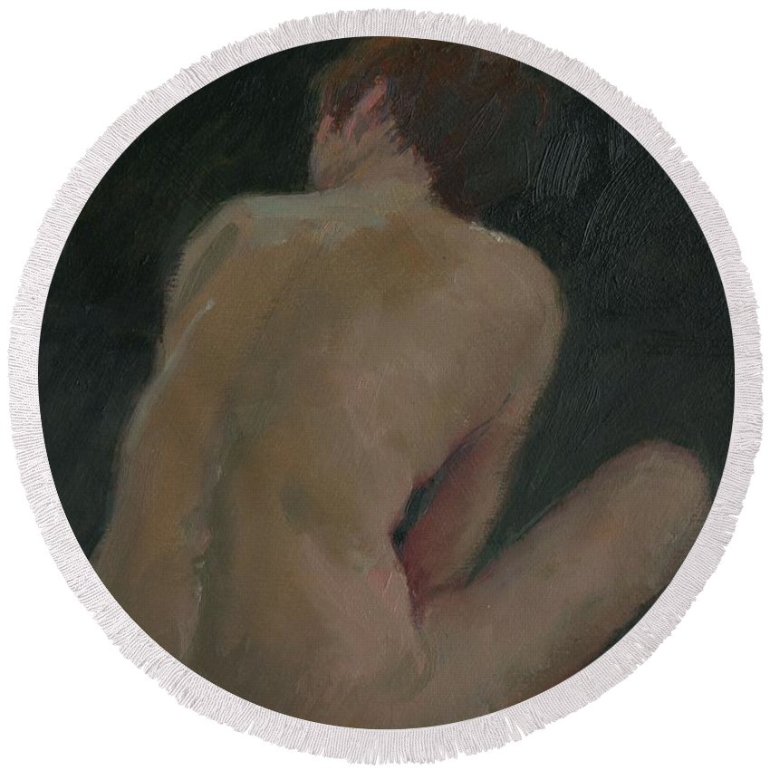 Female Round Beach Towel featuring the painting Nude Back by Pat Maclaurin