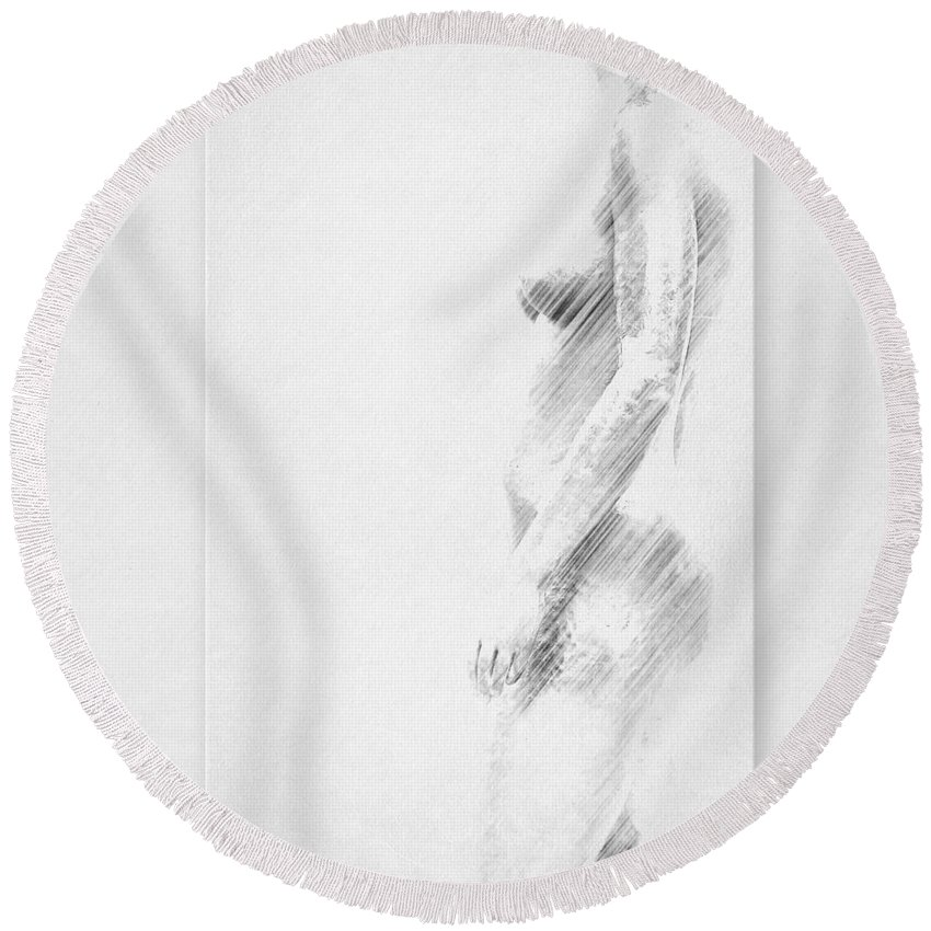 Nude Round Beach Towel featuring the mixed media Nude by Heike Hultsch