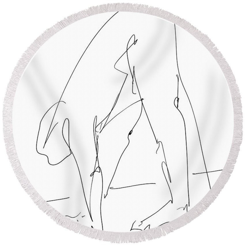 Male Round Beach Towel featuring the drawing Nude Male Drawings 32 by Gordon Punt