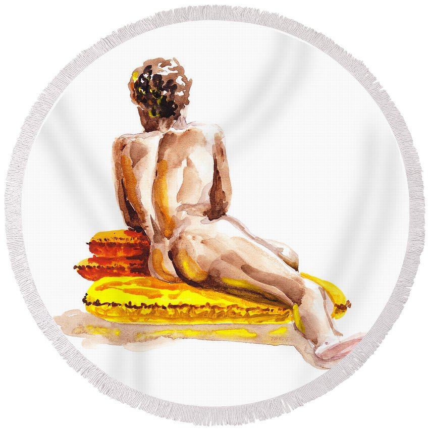 Nude Round Beach Towel featuring the painting Nude Male Model Study Vi by Irina Sztukowski