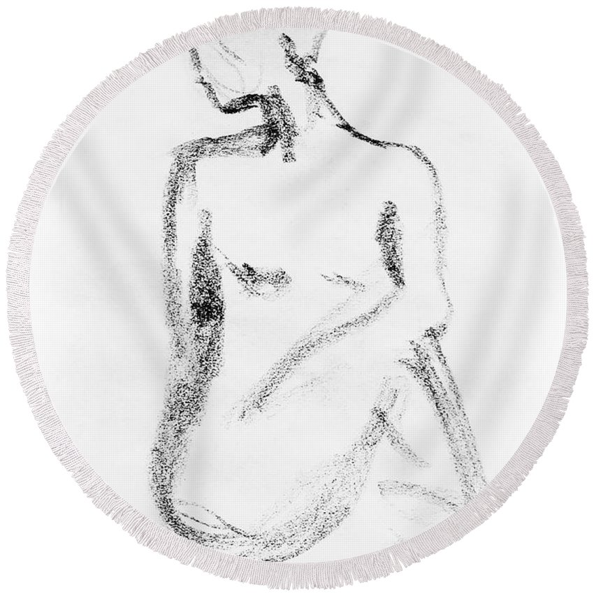 Nude Round Beach Towel featuring the drawing Nude Model Gesture Vi by Irina Sztukowski