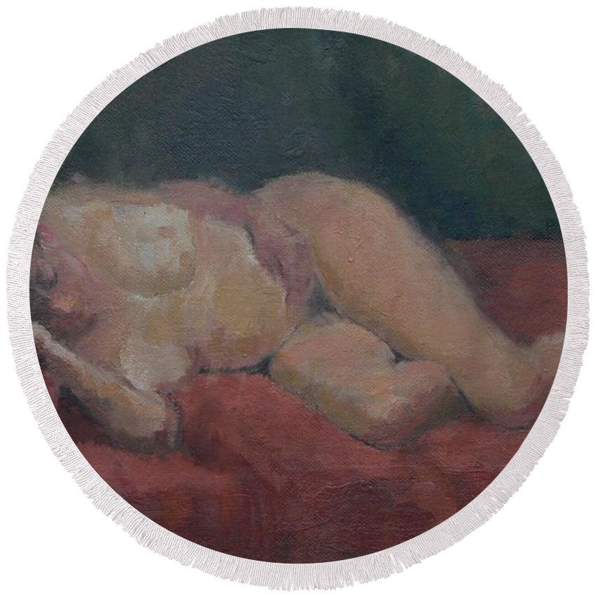 Female Round Beach Towel featuring the painting Nude On Red And Green by Pat Maclaurin