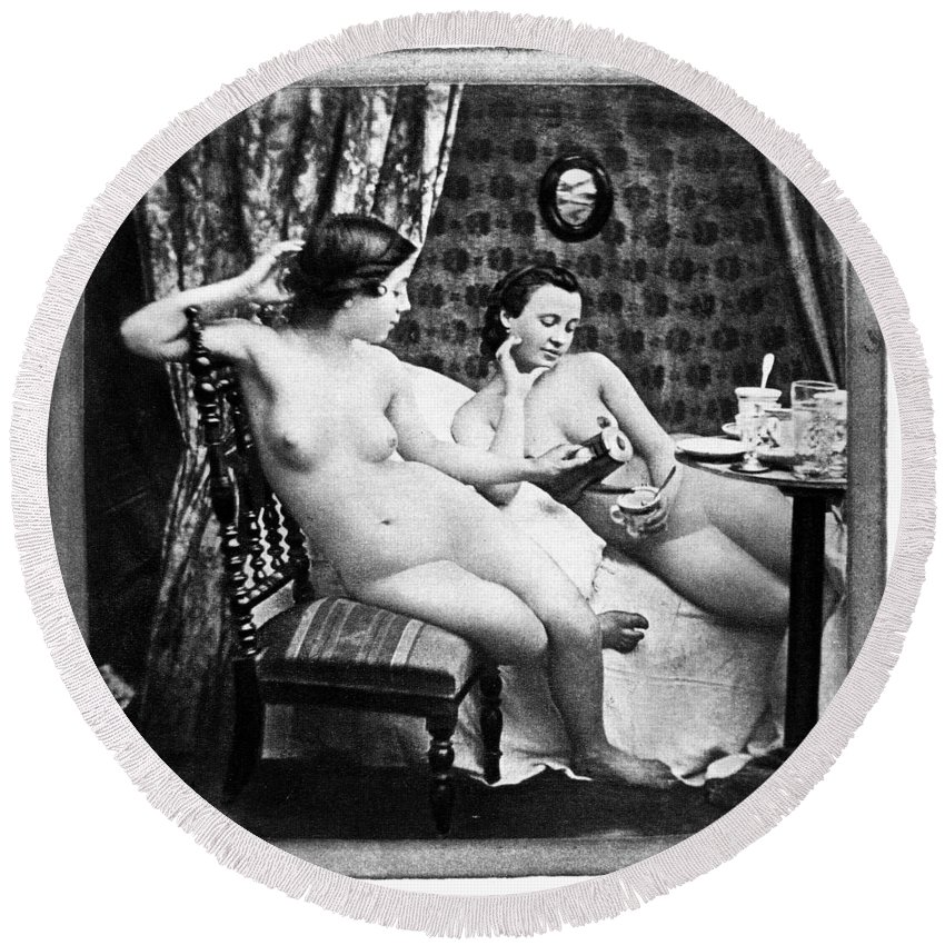 1850 Round Beach Towel featuring the photograph Nudes Having Tea, C1850 by Granger