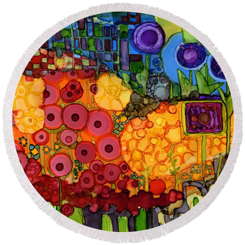 Abstract Round Beach Towel featuring the painting Number Viiii by Vicki Baun Barry