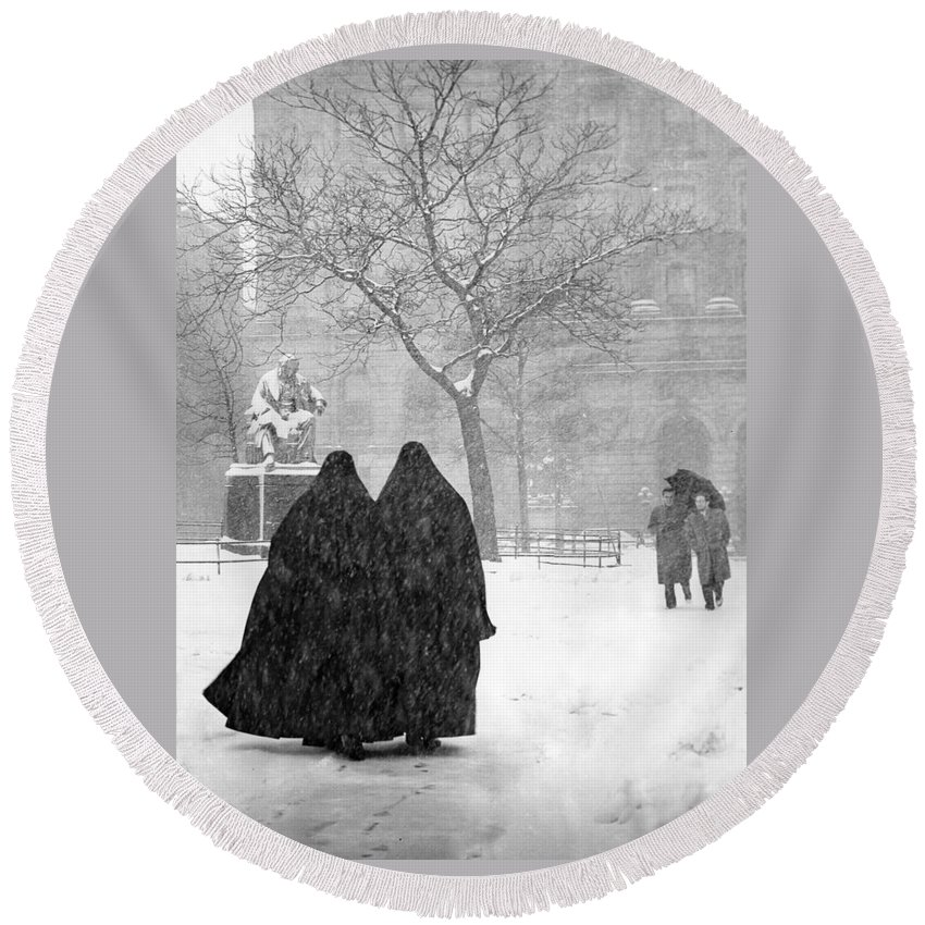 Christmas Round Beach Towel featuring the photograph Nuns In Snow New York City 1946 by Melissa A Benson