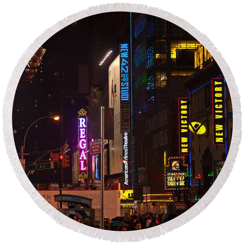 """""""new York City"""" Round Beach Towel featuring the photograph Nw 42nd Street by Paul Mangold"""