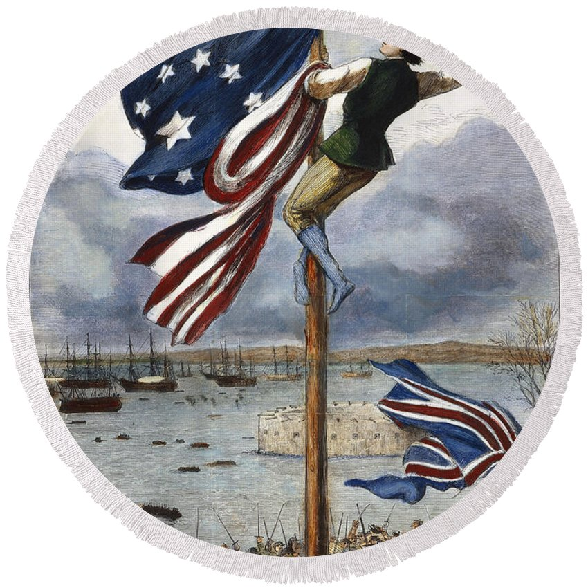 1783 Round Beach Towel featuring the photograph Ny: British Evacuation by Granger