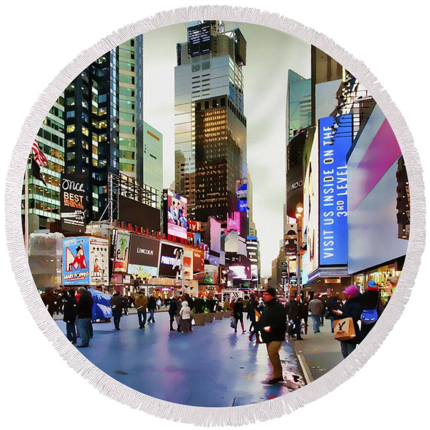 New York City Round Beach Towel featuring the photograph Ny Times Square Impressions I by Regina Geoghan
