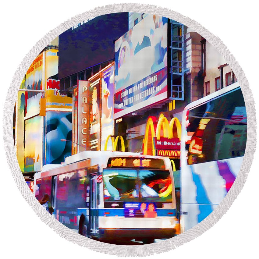 New York Times Square Round Beach Towel featuring the photograph Ny Times Square Impressions Iv by Regina Geoghan