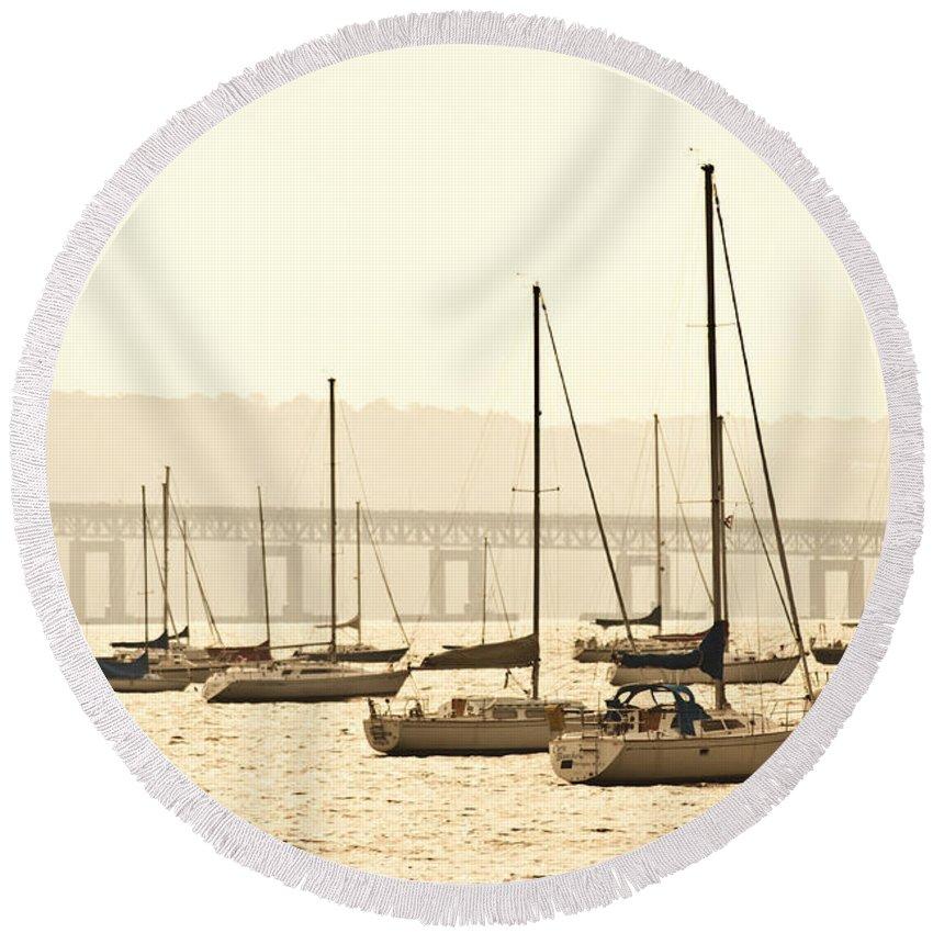 Tappan Zee Bridge - Nyack New York Round Beach Towel featuring the photograph Nyack New York by Bill Cannon