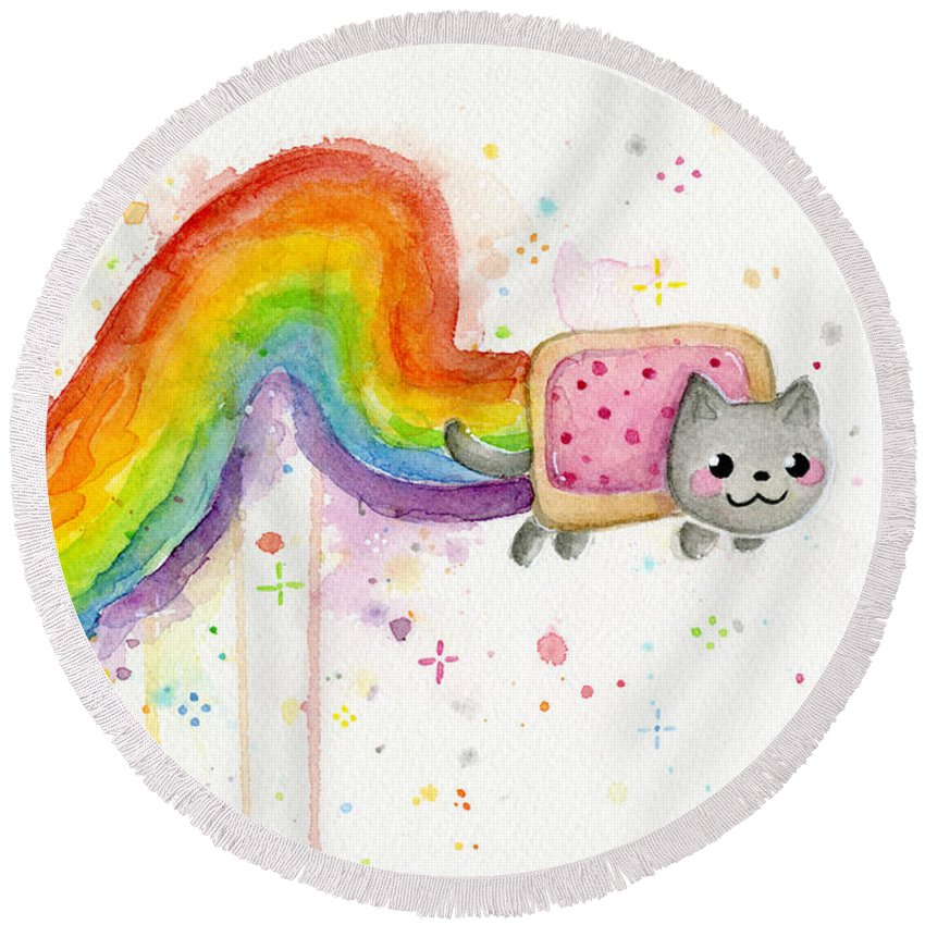 Nyan Round Beach Towel featuring the painting Nyan Cat Watercolor by Olga Shvartsur